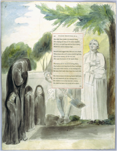"Fig. 2 ""Elegy Written in a Country Churchyard,"" Page 4. Pen and ink, watercolor over pencil. c. 1797-98. Yale Center for British Art. (Image taken from the Blake Archive.)"