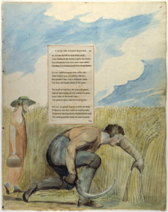 """Fig. 1 """"Elegy Written in a Country Churchyard,"""" Page 5. Pen and ink, watercolor over pencil. c. 1797-98. Yale Center for British Art. (Image taken from the Blake Archive.)"""